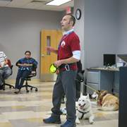 Commonwealth Charter Academy high school French teacher Stephan Bihoreau recently spoke to students about  his family's two adopted Siberian huskies that were rescues from Tails of the Tundra, a Horsham-based nonprofit.