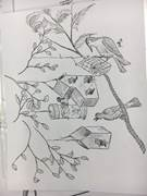 Timothy Henry, a 17-year-old Commonwealth Charter Academy junior, is combining his interest in art with his pursuit of becoming an Eagle Scout by building a prayer garden for his church. This drawing is of birds and birdhouses.