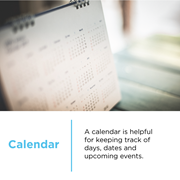 A calendar is helpful for keeping track of important days, dates and upcoming events at CCA.