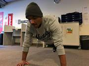 CCA student Jaden Griffin is a junior from Philadelphia who hopes to obtain a physical training certificate on his way to becoming a physical therapist. He helps train other CCA students who are interested in learning more about physical fitness.
