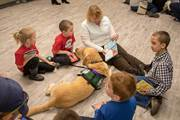 CCA students read to service dogs at the Read Across America Day event