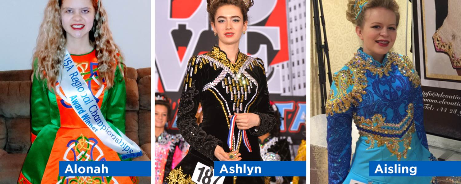CCA's flexible schedule allows students Ashlyn Sparks, Aisling George and Alonah Lowry to compete in Irish dancing while attending cyber school.